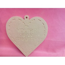6mm MDF Heart engraved with you're sew crafty